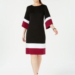 NY Collection Petite Colorblocked Dress Jet Tricom
